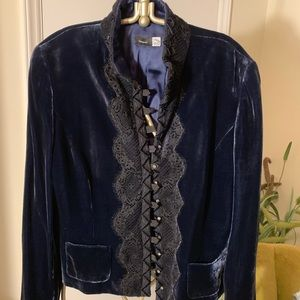 Navy velvet jacket, with black lace
